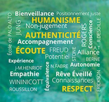 Humanisme, authenticité, écoute, accompagnement, respect, confidentialité, empathie, Rogers, Palo Alto, Henriot, autonomie